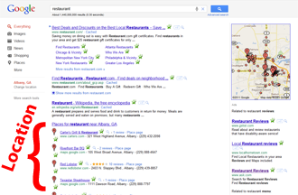 Google Results Location Section